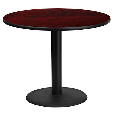 36'' Round Mahogany Laminate Table Top With 24'' Round Table Height Base