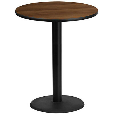 36'' Round Walnut Laminate Table Top With 24'' Round Bar Height Base