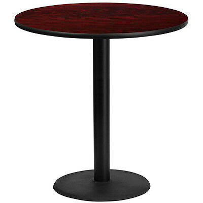 42'' Round Mahogany Laminate Table Top With 24'' Round Bar Height Base