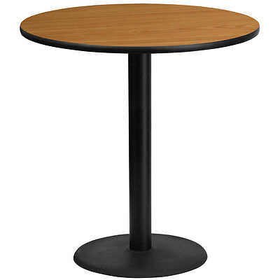 42'' Round Natural Laminate Table Top With 24'' Round Bar Height Base