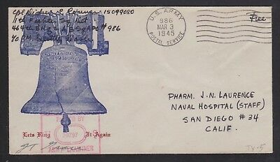 Usa 1945 Censored Let It Ring Patriotic Cover Apo 986 Amchatka To San Diego Cal