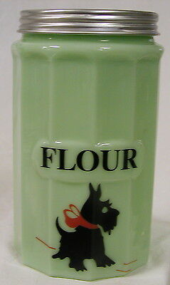 Jade Glass Large FLOUR Canister w/ Scottie Dog