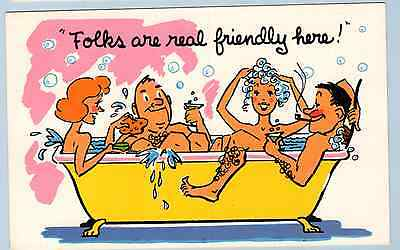 "NEW Vintage  Cartoon ""Folks are Real Friendly Here""  - Post Card"