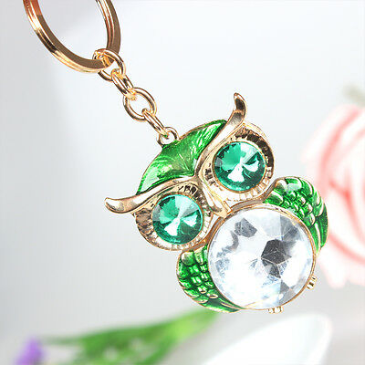 Cute Owl Green Pendant Charm Crystal Purse Bag Key Ring Chain Accessories Gift