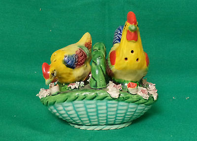 Occupied Japan Rooster And Hen Salt And Pepper In A Basket