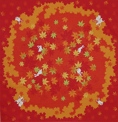 Furoshiki Japanese Fabric Cloth 'Rabbits and Maple Leaves Circle' Cotton 50cm
