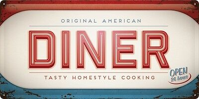 ORIGINAL AMERICAN DINER  Blechschild 25x50 cm  - Sign Signs Schild  27011