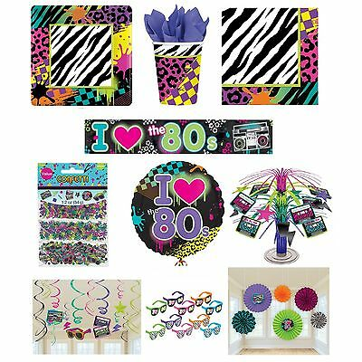 I LOVE THE 80s Disco PARTY RANGE (1980 Tableware Balloons & Decorations)