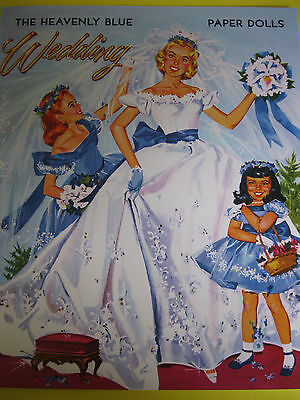 6-Doll HEAVENLY BLUE WEDDING Paper Doll Book from PSP--GORGEOUS!