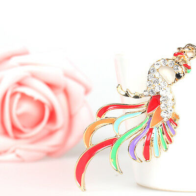 Lovely Multicolor Peacock Pendant Charm Chain Crystal Purse Bag Key Ring Gift