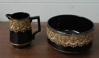 Antique Children's Breakfast Set Black Lustre with Gold Tracery