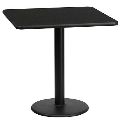 24'' Square Black Laminate Table Top With 18'' Round Table Height Base