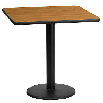 24'' Square Natural Laminate Table Top With 18'' Round Table Height Base