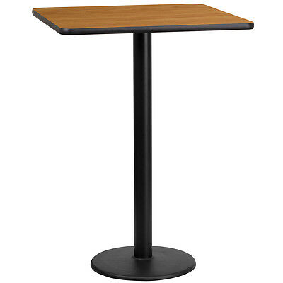 24'' Square Natural Laminate Table Top With 18'' Round Bar Height Base