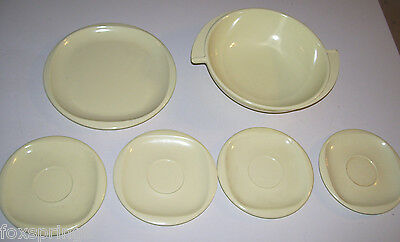 BOONTONWARE YELLOW PLATE, SAUCERS & WINGED BOWL SET OF 6 BOONTON   -  MIS309