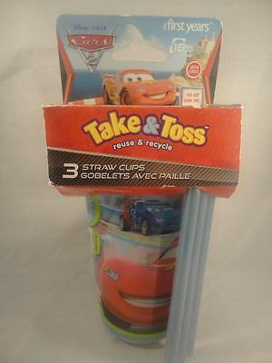 The First Years Take & Toss Reuse & Recycle Disney Cars Straw Cups 3 Pack