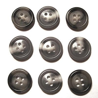 "SET OF 9 VINTAGE 1950's MARBLED GRAY PLASTIC 1/2"" ROUND 4-HOLE SEWING BUTTONS"