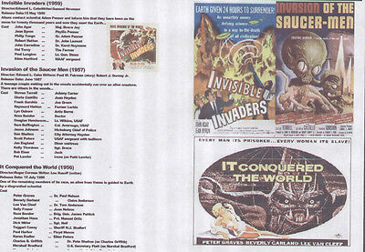 INVISIBLE INVADERS,INVASION OF THE SAUCERMEN,IT CONQUORED THE WORLD 50's SCIFI