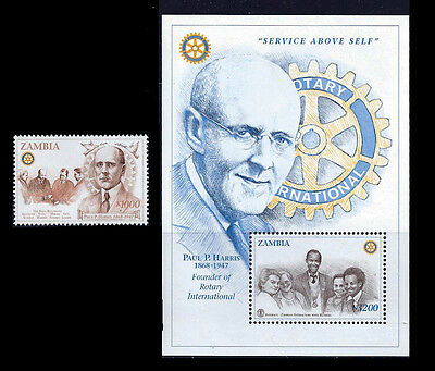 Zambia 1997 Rotary Founder Paul Harris Stamp + Souvenir Sheet  26A-025