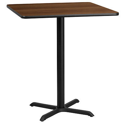36'' Square Walnut Laminate Table Top With 30'' X 30'' Bar Height Base