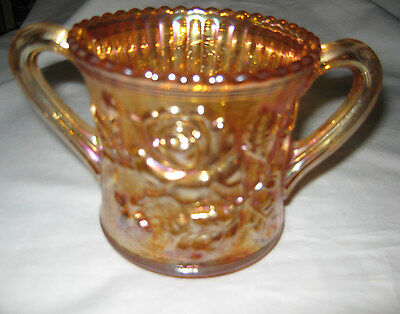 Antique Flower Rose Plant Carnival Glass Sugar Bowl Vase Tea Coffee Kitchen Art