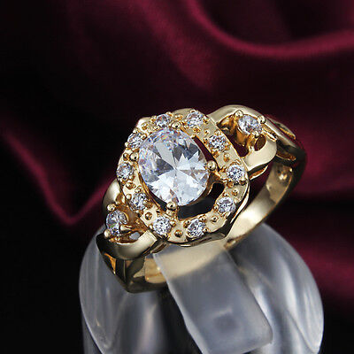New Fashion 18K Gold Hollow Rings Oval Zircon Crystal Christmas Fine Party Gift