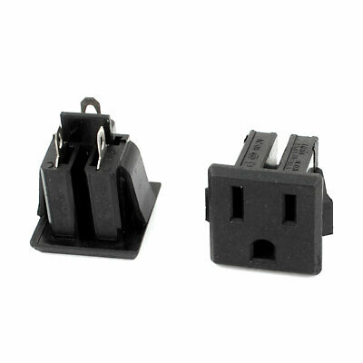 AC 125V 15A US 3 Pins Panel Mounted Snap in Power Supply Female Socket Plug 2pcs