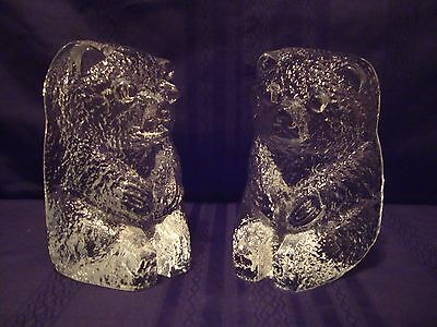 Pair of Vintage Blenko Clear Glass Bear Heavy Paperweight Bookends