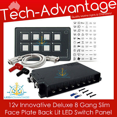 12V 8 Gang Backlit Led Touch Night Use Slim Boat/caravan/yacht Switch Panel Kit
