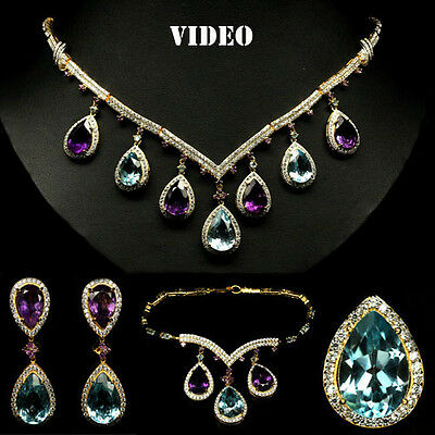 DELUXE! REAL! SKY BLUE TOPAZ, AMETHYST & CZ STERLING 925 SILVER SET WHITE GP