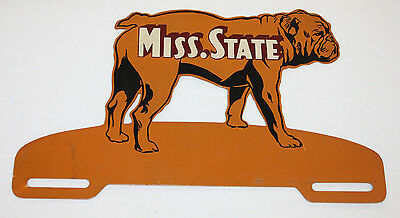 Very Rare - Antique 1950s Mississippi State Bulldogs License Plate Tag Topper