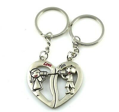 Receiver Sweet Heart Boy Girl Lover Couple Metal Fashion Purse Bag Key Ring Gift