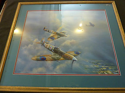 WW II BATTLE of BRITAIN print by Janney 1986 ( custom framed ) 31 x 27