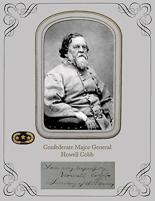 Civil War Confederate Major General Howell Cobb ,Portrait & Autograph