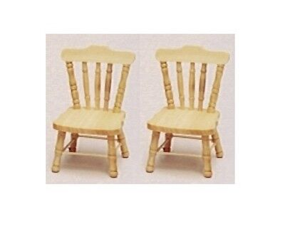 Dolls House Furniture:  Set of Two Light Wood Chairs in 12th scale