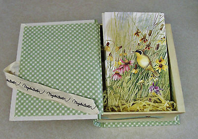 MARJOLEIN BASTIN Set of 15 Blank NOTE CARDS & ENVELOPES in BOOK BOX- BIRDS