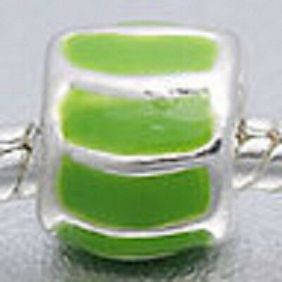 SILVER PLATED LIGHT GREEN ENAMEL SPACER BEAD CHARM ** C MY STORE 4 BRACELETS