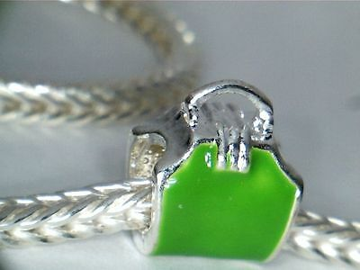 SILVER PLATED ENAMEL GREEN PURSE CHARM SPACER BEAD ** SEE MY STORE 4 BRACELETS