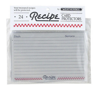 "Recipe Card Protectors(Covers) 4""x 6""by Weatherbee Protect Your Cards Set of 24"