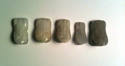 5 Tiny Jadite Jade Stone Carved  Frogs