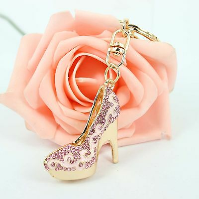 Lovely High-heeled Shoe Crystal Rhinestone Charm Pendant Purse Bag Key Chain Gif