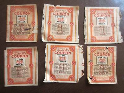 Lot of 6 Very Rare True Vintage LION MILK ( a Nestle Product ) catalogue coupons