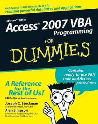 Access 2007 VBA Programming for Dummies (For Dummies) - Paperback NEW Stockman,