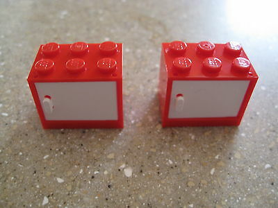 NEW LEGO LOT OF 2 RED 2X3X2 CONTAINER BOXES WITH WHITE DOOR