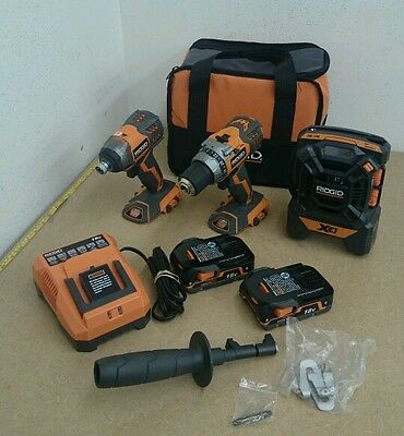 Ridgid R9601 18V Compact Drill/Impact Driver/Radio Combo w/Lithium Ion Batteries