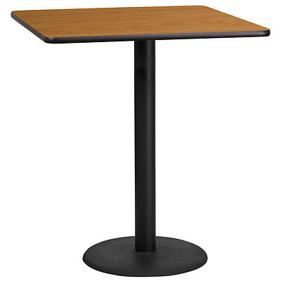 36'' Square Natural Laminate Table Top With 24'' Round Bar Height Base