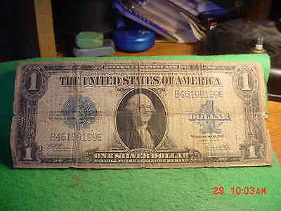 1923 Large Size ONE Dollar  BLUE Seal BANKNOTE,  GOOD MOORE/WHITE