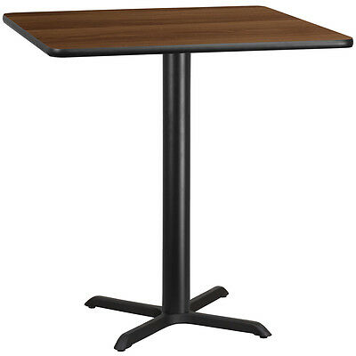 42'' Square Walnut Laminate Table Top With 33'' X 33'' Bar Height Base