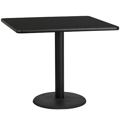 42'' Square Black Laminate Table Top With 24'' Round Table Height Base