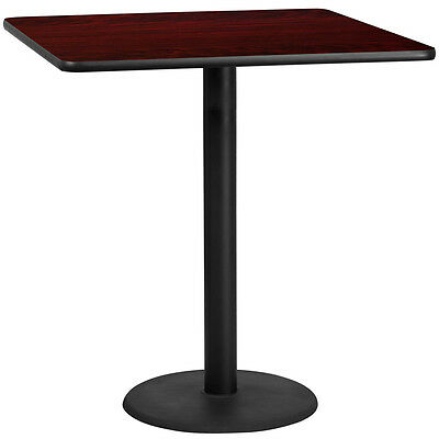 42'' Square Mahogany Laminate Table Top With 24'' Round Bar Height Base
